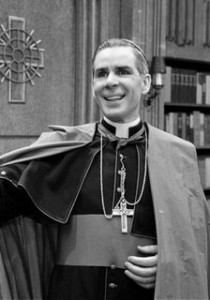 Fulton Sheen with SPOF Logo behind BW