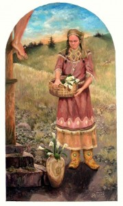 Kateri with Lillies