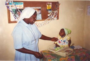 """Weighed in"" by SIster at the Mission Center in Thies, Senegal"