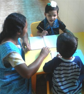 Children being taught in an orphanage in Tamil Nadu, India